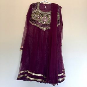 kids 6-8Y Plum Purple Indian Dress